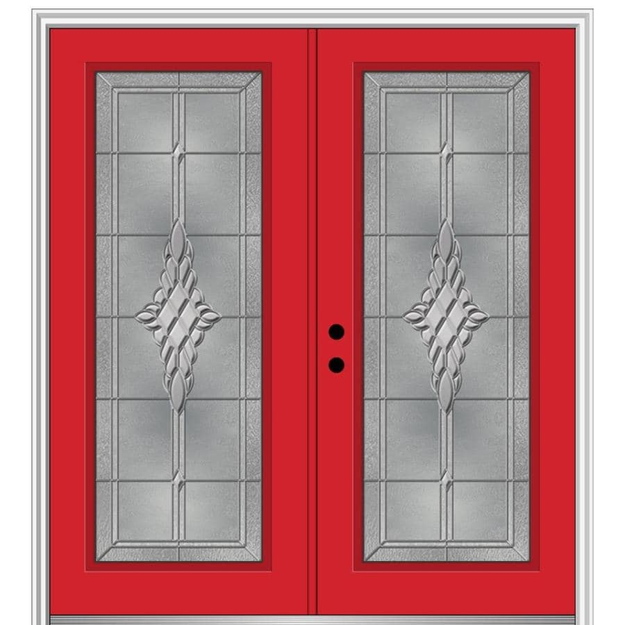 Mmi Door 64 In X 80 In Fiberglass Full Lite Right Hand Inswing Red Saffron Painted Prehung Double Front Door With Brickmould In The Front Doors Department At Lowes Com