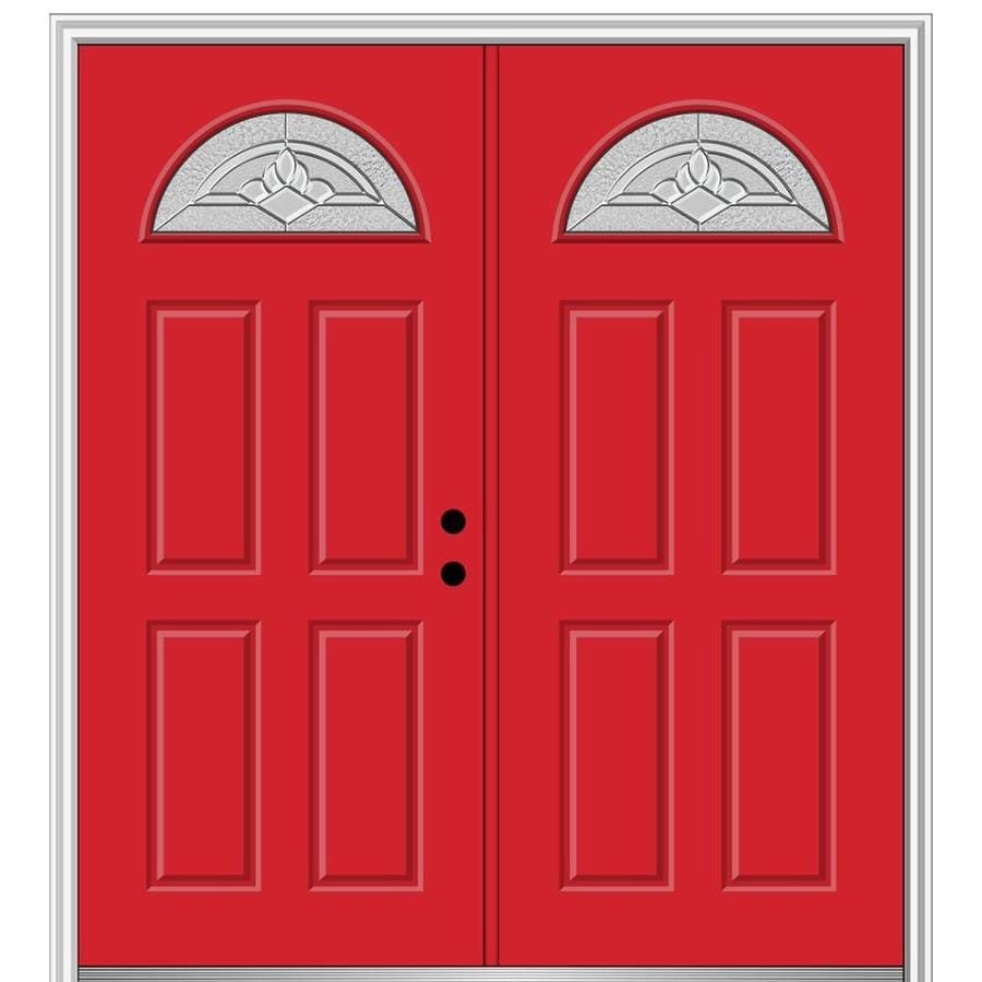 Mmi Door 64 In X 80 In Fiberglass 1 4 Lite Left Hand Inswing Red Saffron Painted Prehung Double Front Door With Brickmould In The Front Doors Department At Lowes Com