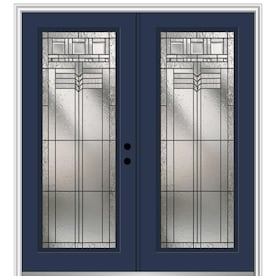 Mmi Door 72 In X 80 In Fiberglass Full Lite Left Hand Inswing Naval Painted Prehung Double Front Door With Brickmould In The Front Doors Department At Lowes Com