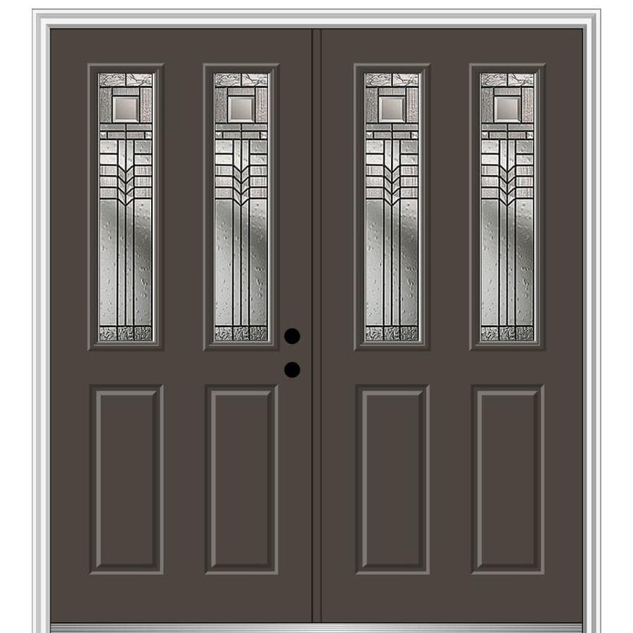 Mmi Door 64 In X 80 In Fiberglass Twin Lite Left Hand Inswing Brown Painted Prehung Double Front Door With Brickmould In The Front Doors Department At Lowes Com