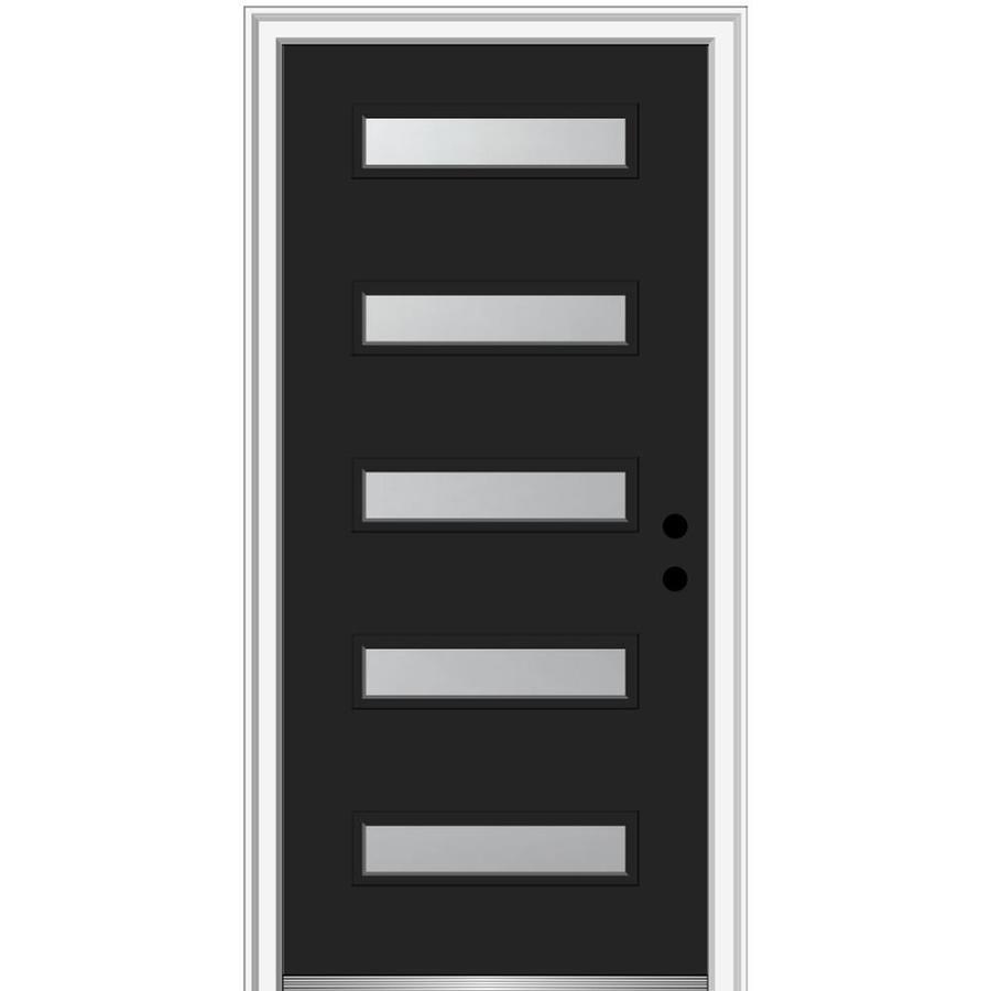 Mmi Door Spotlights 36 In X 80 In Fiberglass Full Lite Left Hand Inswing Black Painted Prehung Single Front Door With Brickmould In The Front Doors Department At Lowes Com
