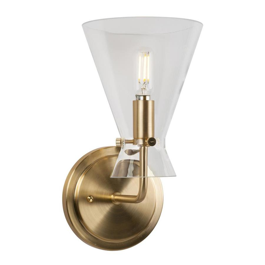 Forte Lighting Beaker 1 Light Soft Gold Wall Sconce With Clear Glass In The Wall Sconces Department At Lowes Com