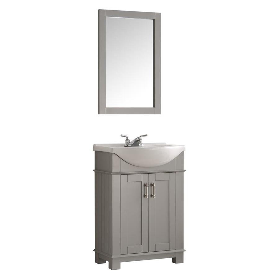 Fresca Hartford 24 In Gray Drop In Single Sink Bathroom Vanity With White Ceramic Top In The Bathroom Vanities With Tops Department At Lowes Com