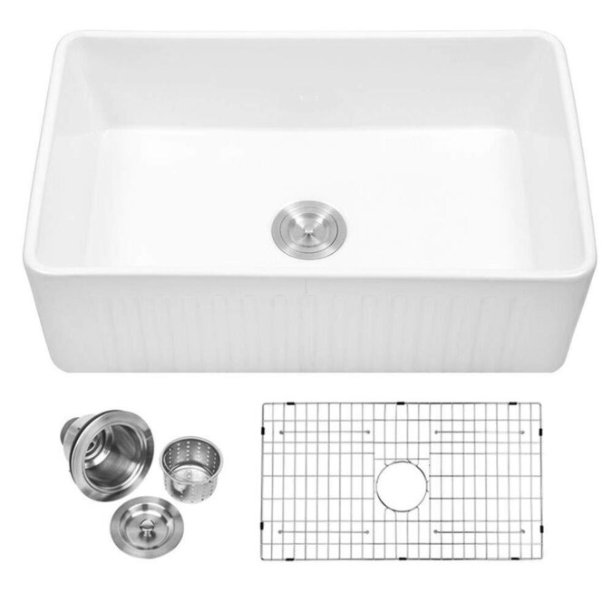 Matrix Decor Drop In Apron Front Farmhouse 10 In X 30 In White Single Bowl Corner Install Kitchen Sink In The Kitchen Sinks Department At Lowes Com