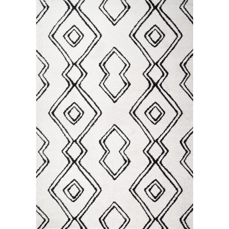 Jonathan Y Pluto 8 X 10 White Black Indoor Trellis Area Rug In The Rugs Department At Lowes Com