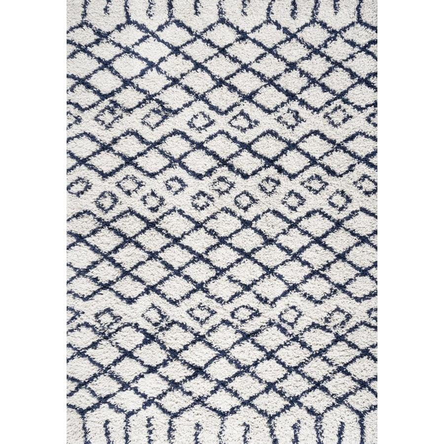 Jonathan Y London Shag 5 X 8 Beige Navy Indoor Geometric Area Rug In The Rugs Department At Lowes Com