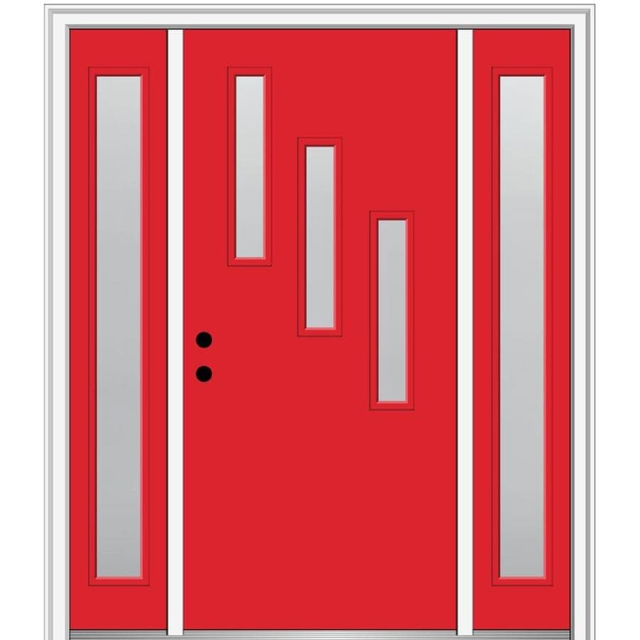 Mmi Door Spotlights 64 In X 80 In Fiberglass Half Lite Right Hand Inswing Red Saffron Painted Prehung Single Front Door With Sidelights With Brickmould In The Front Doors Department At Lowes Com