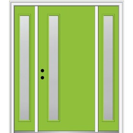 Mmi Door 68 In X 80 In Fiberglass Full Lite Left Hand Inswing Burgundy Painted Prehung Double Front Door With Brickmould In The Front Doors Department At Lowes Com