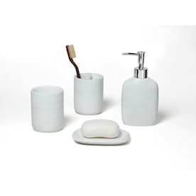 Roselli Trading Company Silver Wave Silver Ceramic Bath Accessory Set In The Bathroom Accessories Department At Lowes Com
