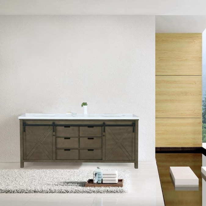 Lexora Marsyas 84 In Rustic Brown Undermount Double Sink Bathroom Vanity With White Quartz Top In The Bathroom Vanities With Tops Department At Lowes Com