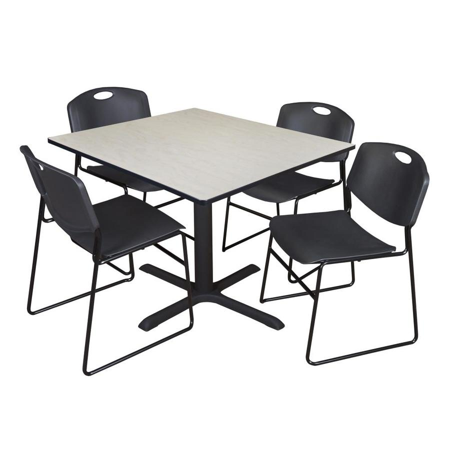 Regency Cain 48 In Square Breakroom Table Maple And 4 Zeng Stack Chairs Black In The Office Tables Department At Lowes Com