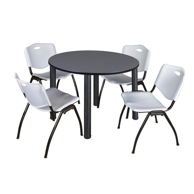 Regency Kee 48 In Round Breakroom Table Grey Black And 4 Ftm Ft Stack Chairs Grey In The Office Tables Department At Lowes Com