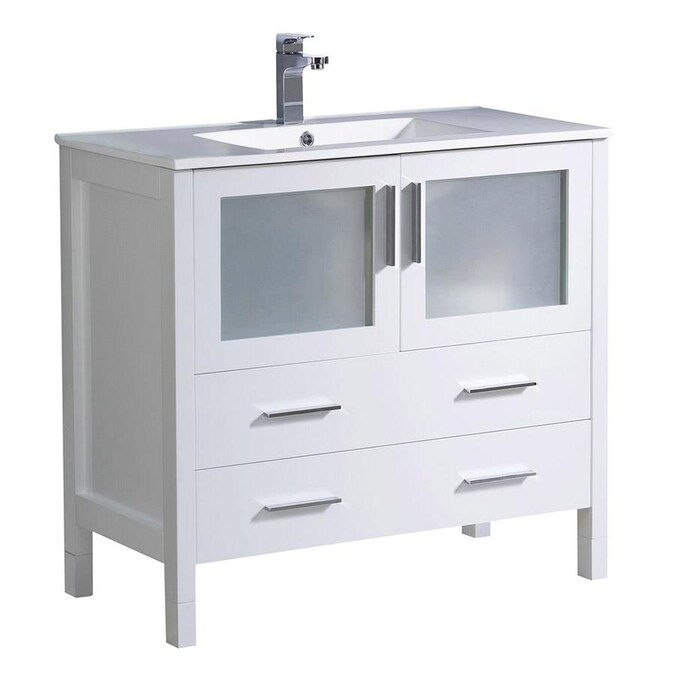 Fresca Fresca Torino 36 In White Modern Bathroom Cabinet With Integrated Sink In The Bathroom Vanities With Tops Department At Lowes Com