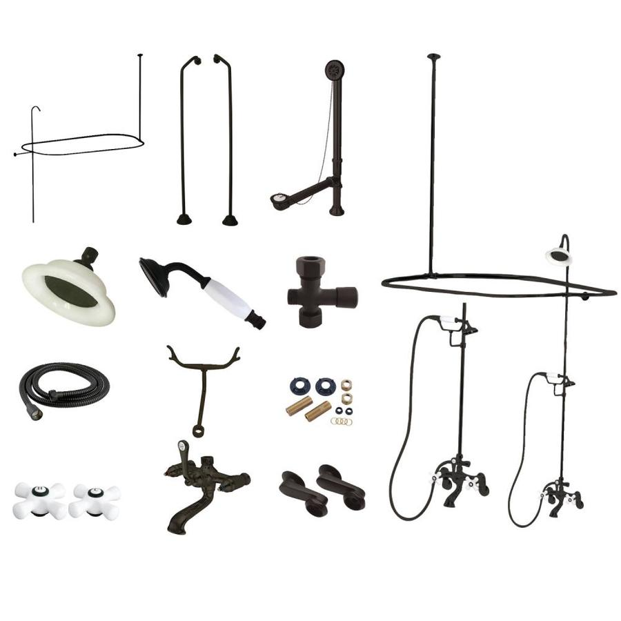 Kingston Brass Vintage Oil Rubbed Bronze 3 Handle Tub Wall Mount Clawfoot Tub Faucet Package With Shower Combo Valve Included In The Bathtub Faucets Department At Lowes Com