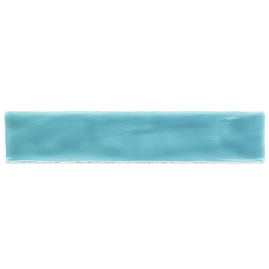 Artmore Tile Newton Turquoise 2 In X 10 In Polished Ceramic Linear Brick Look Floor And Wall Tile Sample In The Tile Samples Department At Lowes Com