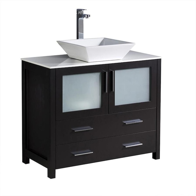 Fresca Fresca Torino 36 In Espresso Modern Bathroom Cabinet With Vessel Sink In The Bathroom Vanities With Tops Department At Lowes Com
