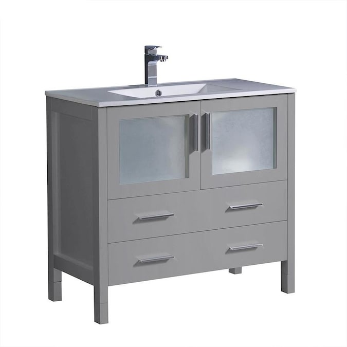 Fresca Fresca Torino 36 In Gray Modern Bathroom Cabinet With Integrated Sink In The Bathroom Vanities With Tops Department At Lowes Com