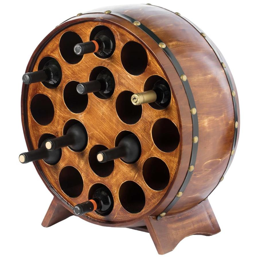 Vintiquewise Wooden Stackable Round Shaped Wine Barrel Wine Rack 1 Rack In The Wine Storage Department At Lowes Com