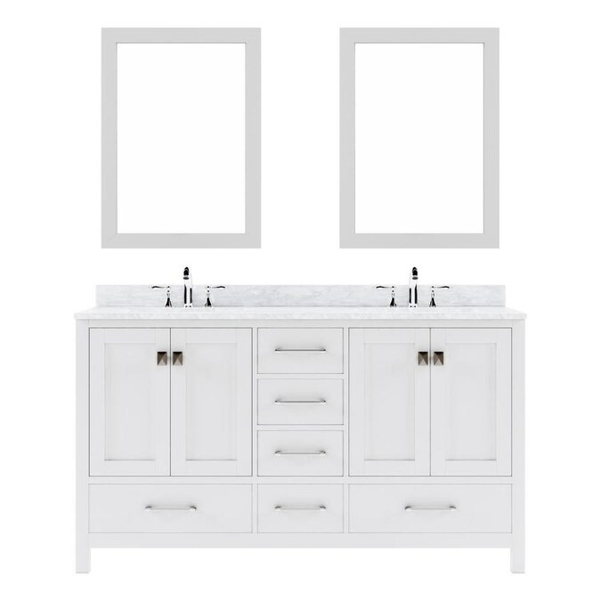 Virtu Usa Caroline Avenue 60 In White Double Sink Bathroom Vanity With Italian Carrara White Marble Top Mirror Included In The Bathroom Vanities With Tops Department At Lowes Com