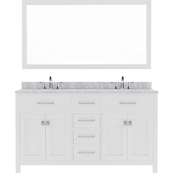 Virtu Usa Caroline 60 In White Undermount Double Sink Bathroom Vanity With Italian Carrara White Marble Top Mirror And Faucet Included In The Bathroom Vanities With Tops Department At Lowes Com