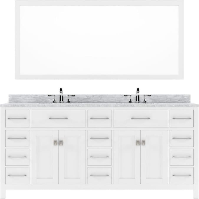 Virtu Usa Caroline Parkway 72 In White Undermount Double Sink Bathroom Vanity With Italian Carrara White Marble Top Mirror Included In The Bathroom Vanities With Tops Department At Lowes Com
