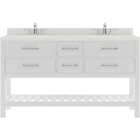 Design Element London 61 In Espresso Undermount Double Sink Bathroom Vanity With White Marble Top Mirror Included In The Bathroom Vanities With Tops Department At Lowes Com