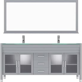 Mtd Vanities 71 In White Double Sink Bathroom Vanity With White Engineered Stone Top Mirror And Faucet Included In The Bathroom Vanities With Tops Department At Lowes Com