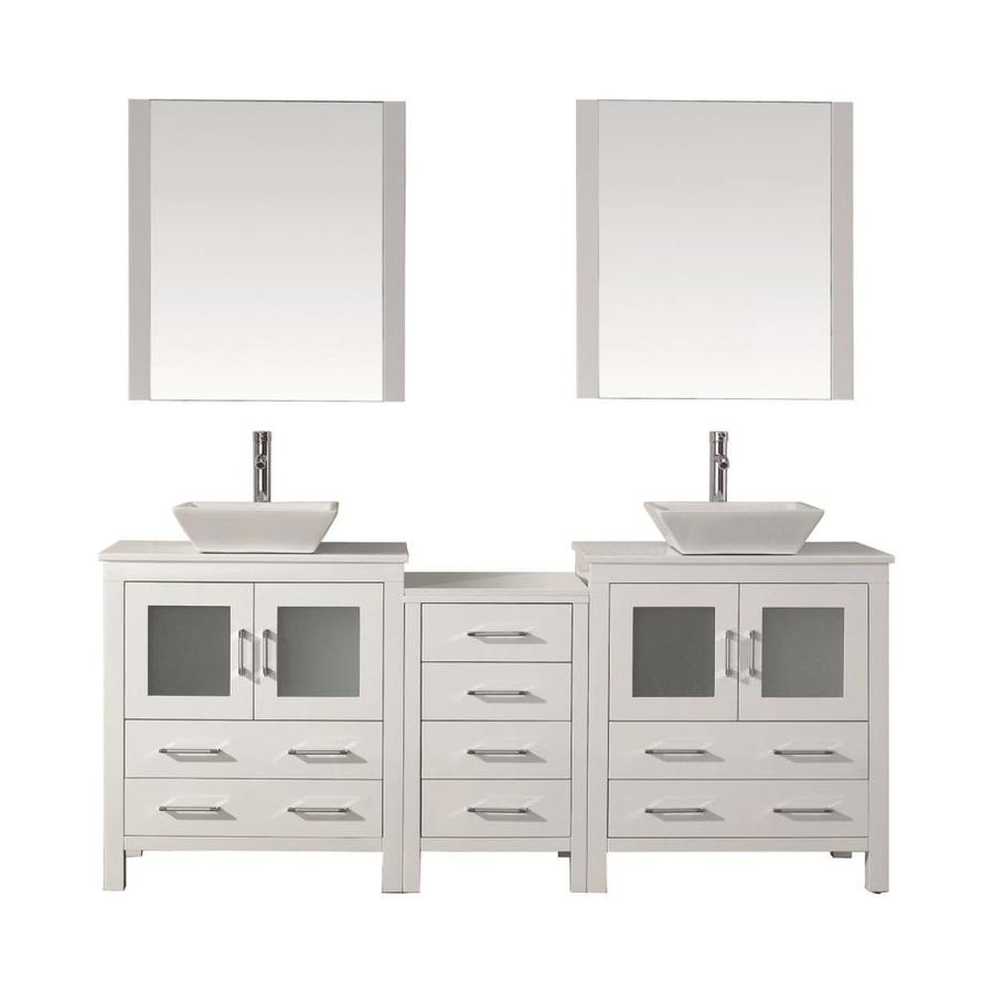 Virtu Usa Dior 78 In White Double Sink Bathroom Vanity With White Engineered Stone Top Mirror And Faucet Included In The Bathroom Vanities With Tops Department At Lowes Com