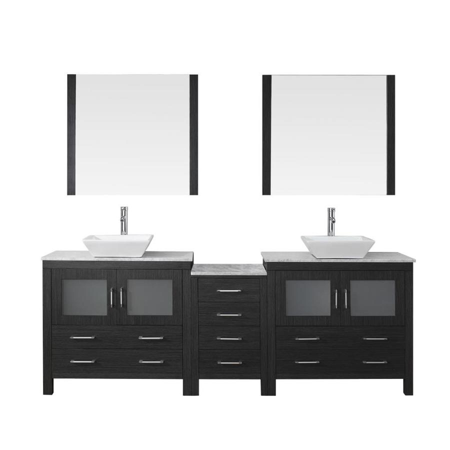 Virtu Usa Dior 82 In Zebra Gray Double Sink Bathroom Vanity With Italian Carrara White Marble Top Mirror And Faucet Included In The Bathroom Vanities With Tops Department At Lowes Com