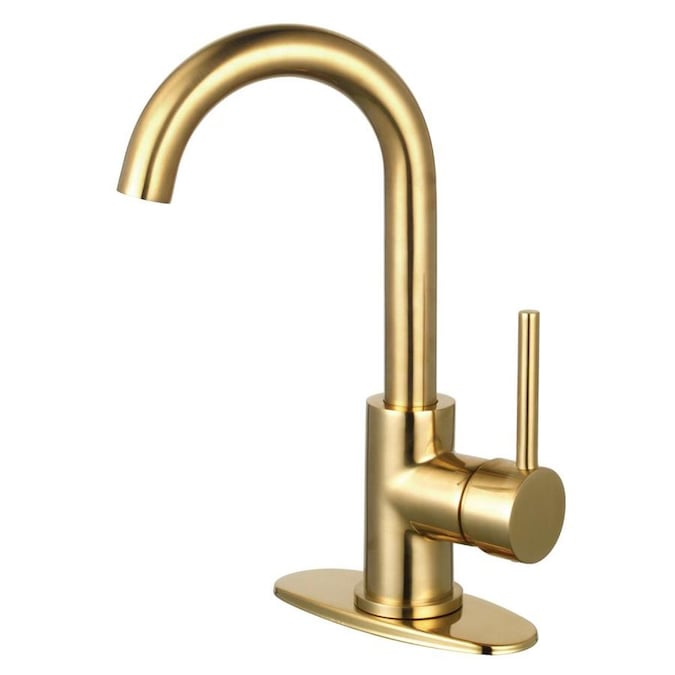 Kingston Brass Concord Brushed Brass 1 Handle 4 In Centerset Bathroom Sink Faucet With Drain And Deck Plate In The Bathroom Sink Faucets Department At Lowes Com