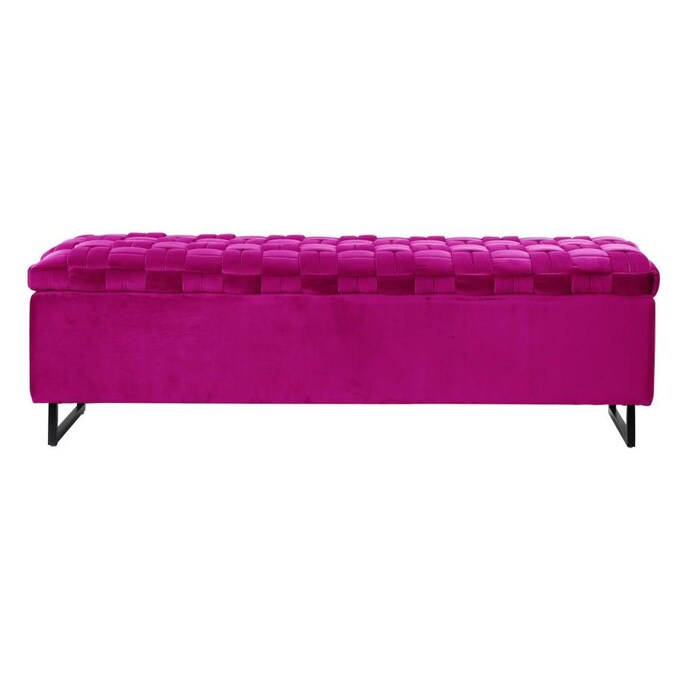 Inspired Home Inspired Home Ruth Storage Bench Fuchsia Velvet Upholstered Hand Woven In The Indoor Benches Department At Lowes Com
