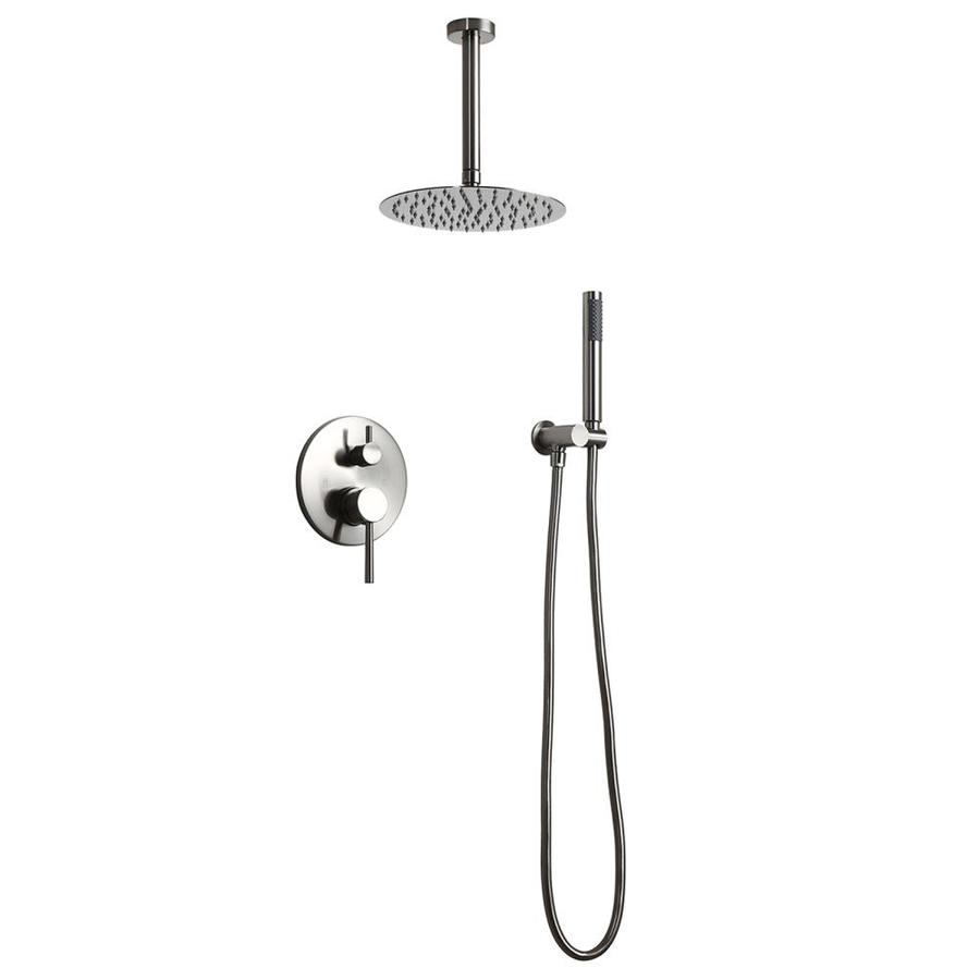 Casainc Round Rain Shower Head Shower 8 In Combo System With Handheld Shower Brushed Nickel Cupc Certificated In The Shower Systems Department At Lowes Com