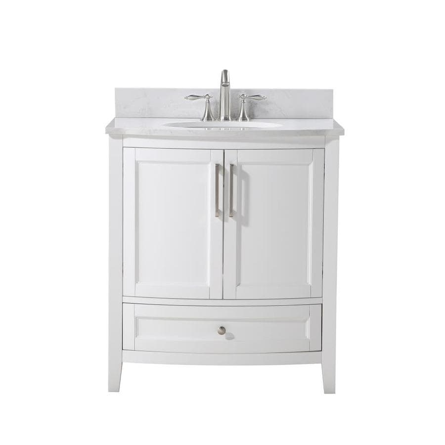 Runfine Harper 30 In White Single Sink Bathroom Vanity With Carrara Cultured Marble Cultured Marble Top In The Bathroom Vanities With Tops Department At Lowes Com