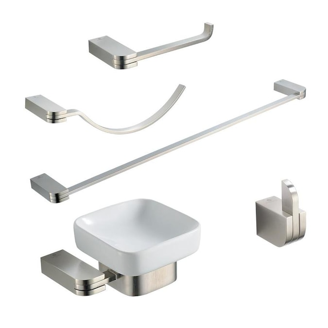 Fresca Fresca Solido 5 Piece Bathroom Accessory Set In Brushed Nickel In The Bathroom Accessories Department At Lowes Com