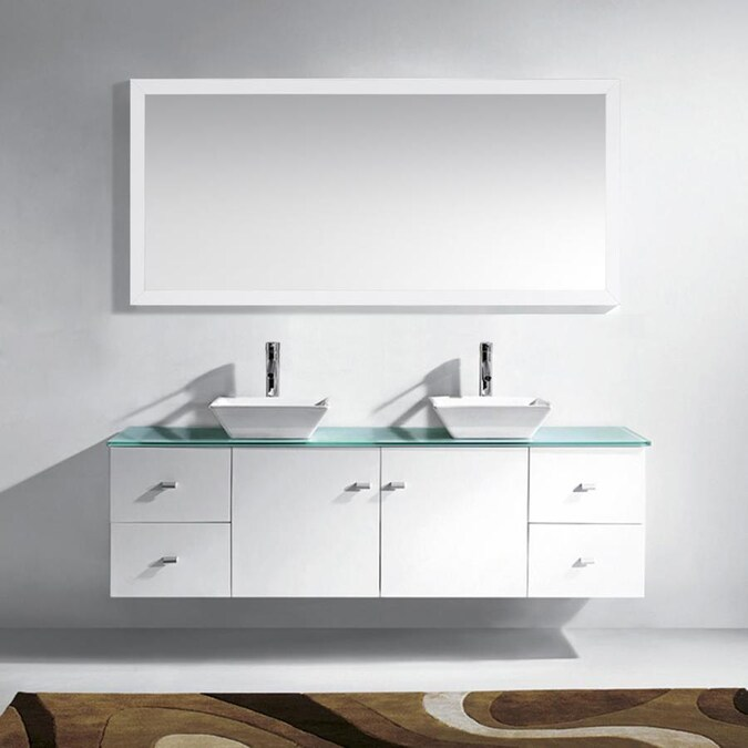 Virtu Usa Clarissa 72 In White Double Sink Bathroom Vanity With Aqua Tempered Glass Top Mirror And Faucet Included The Vanities Tops Department At Lowes Com