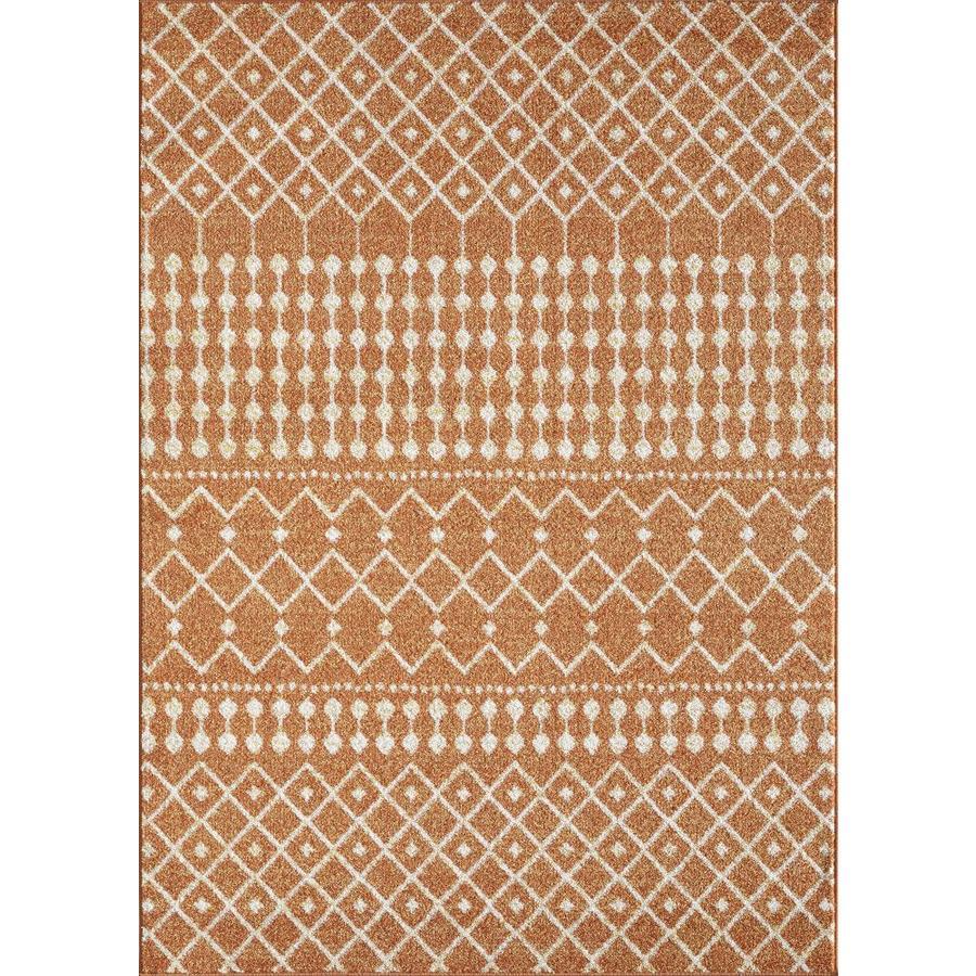 Eviva Grid 10 X 12 Orange Cream Geometric Area Rug In The Rugs Department At Lowes Com