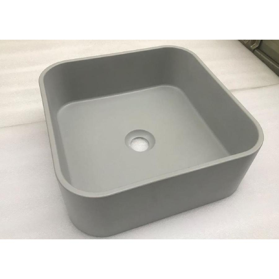 Kante Ct370gy Natural Concrete Cement Vessel Square Bathroom Sink 14 57 In X 14 57 In In The Bathroom Sinks Department At Lowes Com