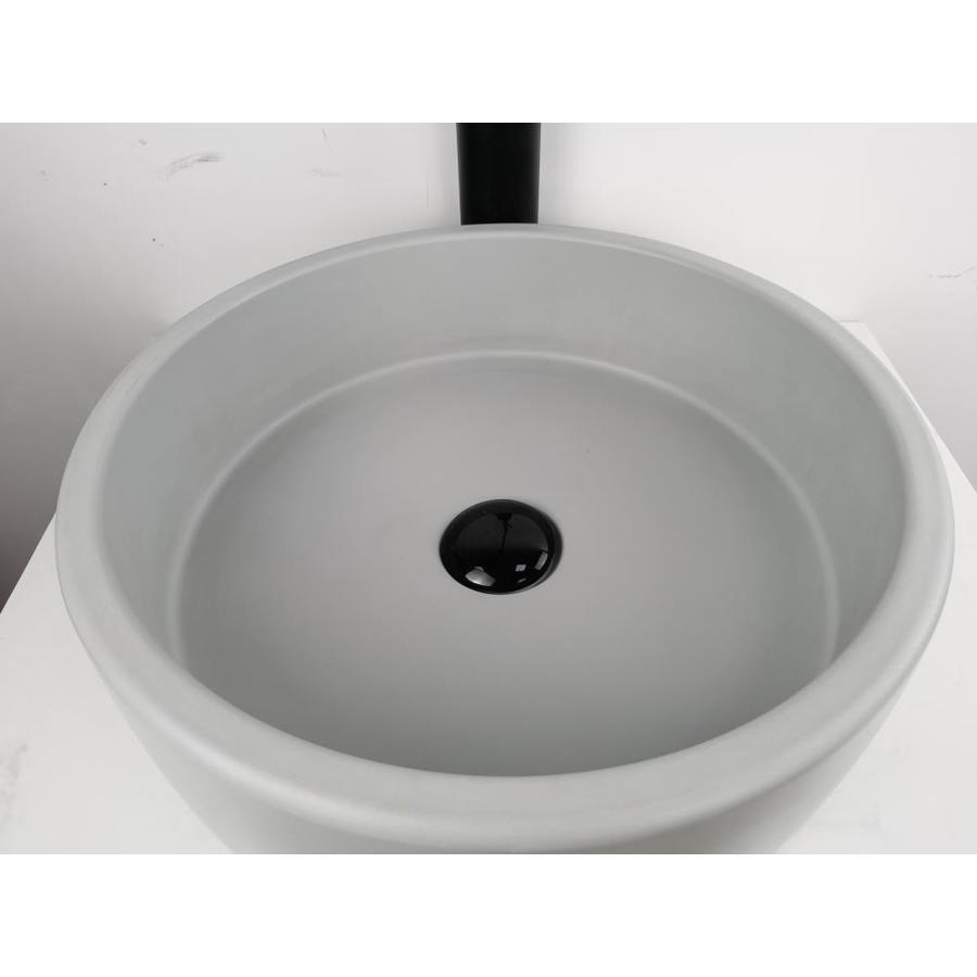 Kante Ct400gy Natural Concrete Cement Vessel Round Bathroom Sink 15 75 In X 15 75 In In The Bathroom Sinks Department At Lowes Com