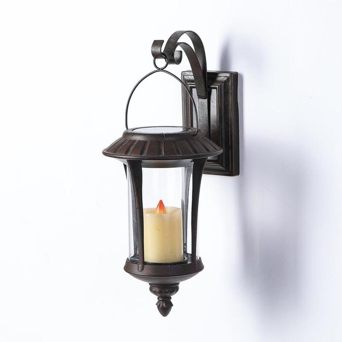 Luxen Home Hanging Solar Light Lantern Wall Sconce In The Outdoor Wall Lights Department At Lowes Com