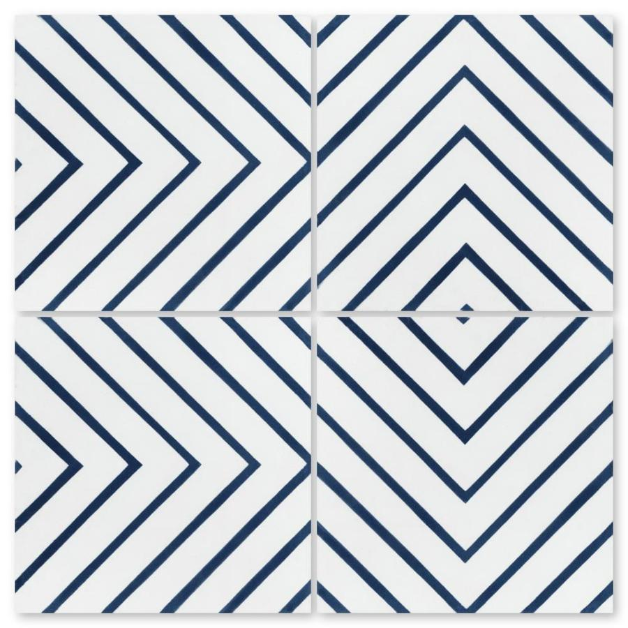 Villa Lagoon Tile Labyrinth Berry Blue 16 Pack 8 In X 8 In Unglazed Cement Patterned Floor And Wall Tile In The Tile Department At Lowes Com