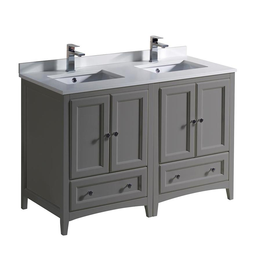 Fresca Oxford 48 In Gray Undermount Double Sink Bathroom Vanity With White Quartz Top In The Bathroom Vanities With Tops Department At Lowes Com