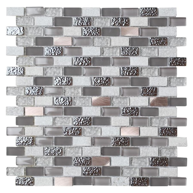 House Of Mosaics 8 Pack Gray And Copper Effect 12 In X 12 In Multi Finish Glass Metal Marble Wall Tile In The Tile Department At Lowes Com
