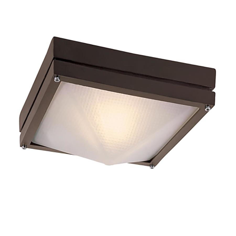 Lucid Lighting 12 5 In 1 Light Outdoor Flush Mount Ceiling Light Square Shape Prismatic Glass Shade Included Metal Frame Rust Finish In The Outdoor Flush Mount Lights Department At Lowes Com