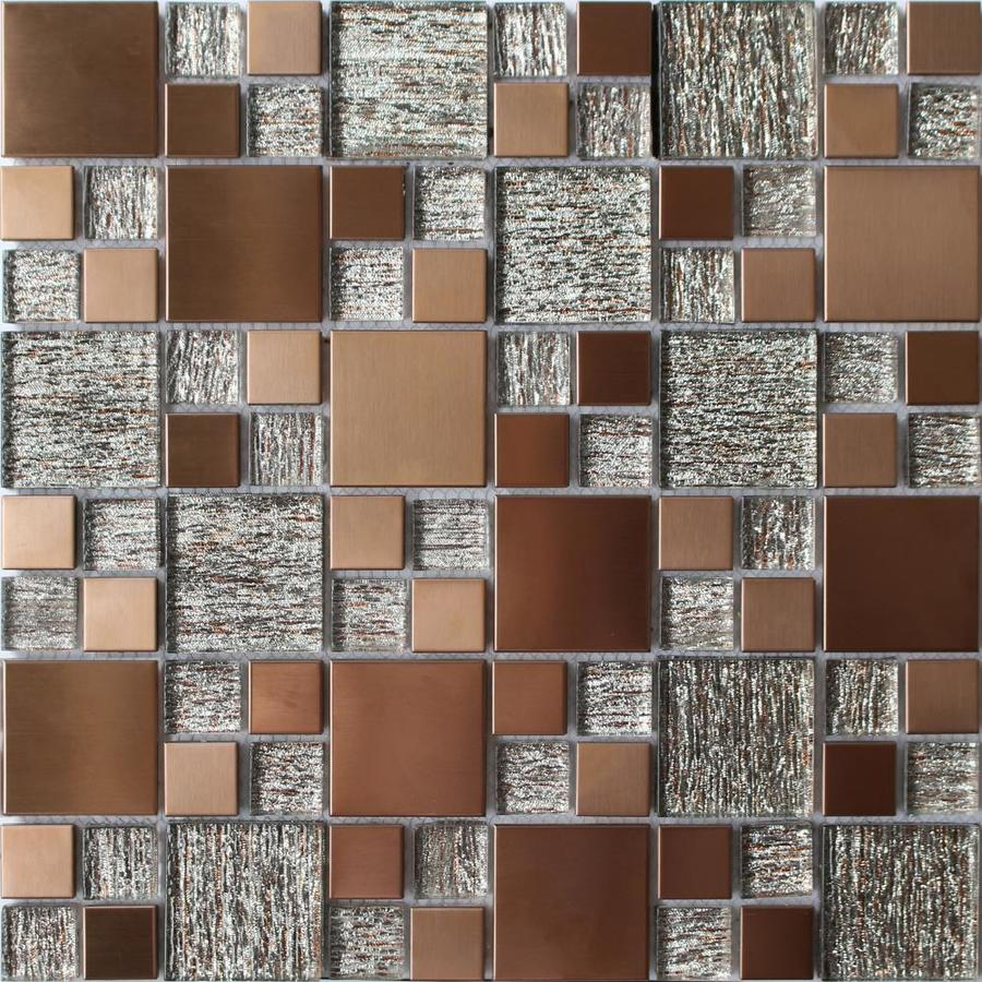 House Of Mosaics Copper Effect 4 In X 4 In Multi Finish Glass Metal Stone Wall Tile Sample In The Tile Samples Department At Lowes Com