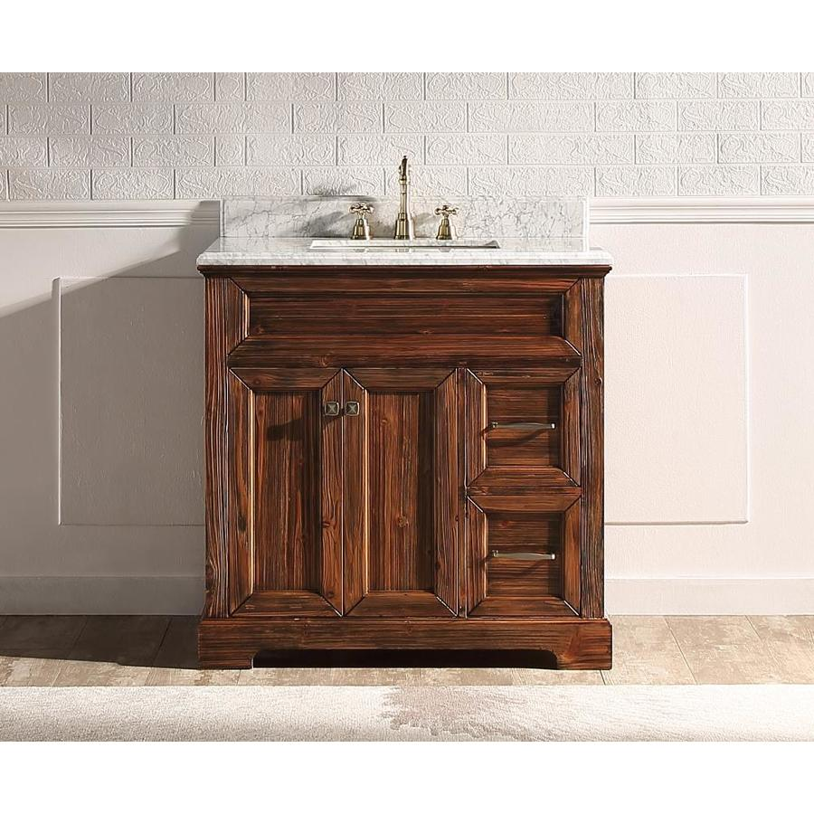 Supreme Wood Shasta 36 In Wooden Brown Undermount Single Sink Bathroom Vanity With White Carrara Natural Marble Top In The Bathroom Vanities With Tops Department At Lowes Com