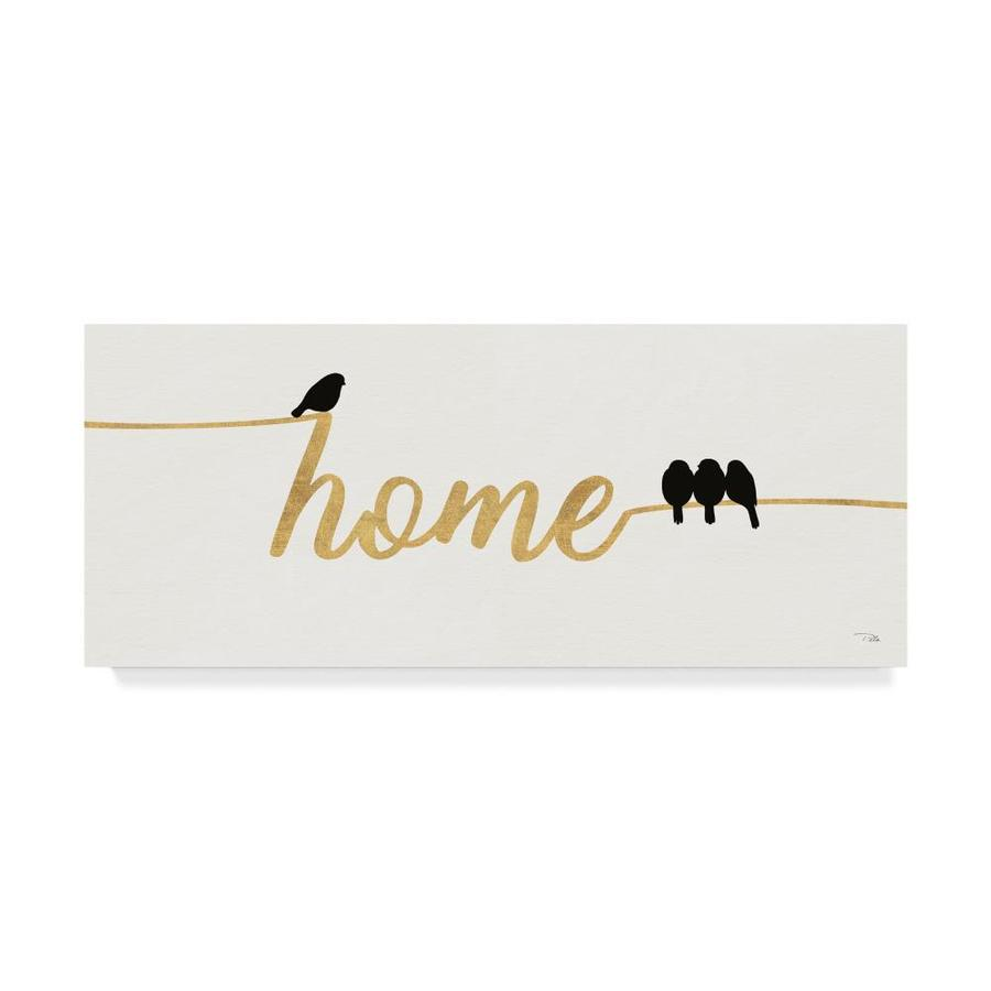 Trademark Fine Art Pela Birds On Words 2 Gold 20x47 Canvas Art In The Wall Art Department At Lowes Com