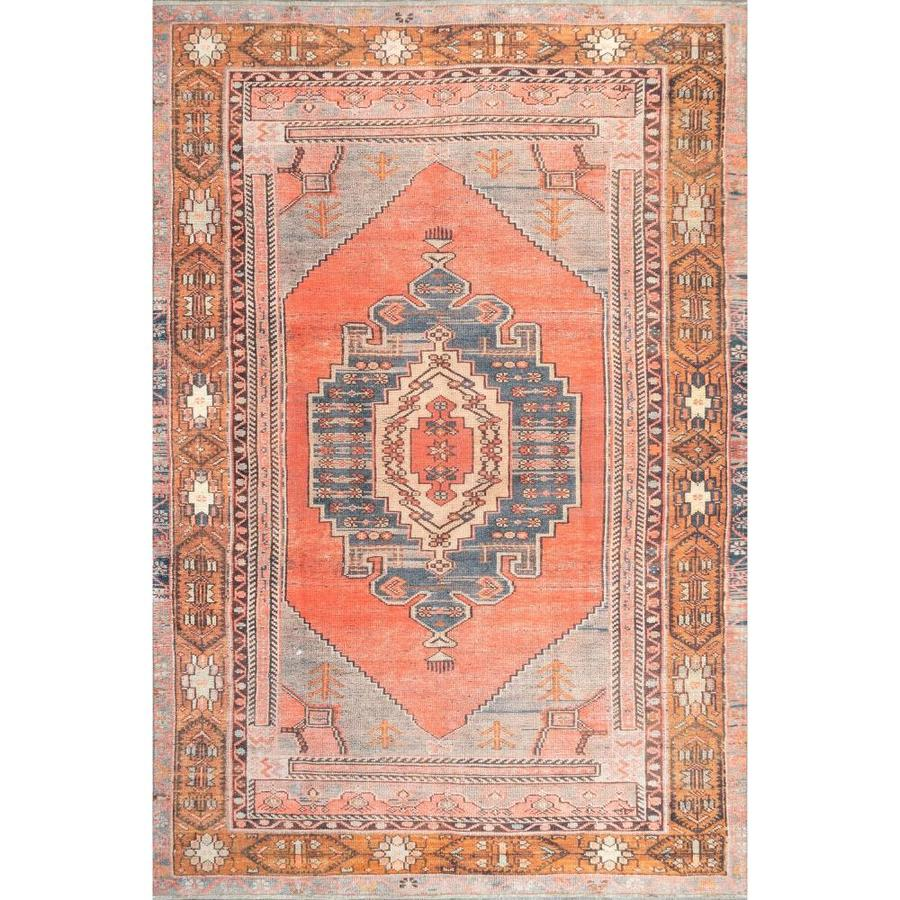 Nuloom Kamila 6 X 9 Orange Indoor Medallion Area Rug In The Rugs Department At Lowes Com
