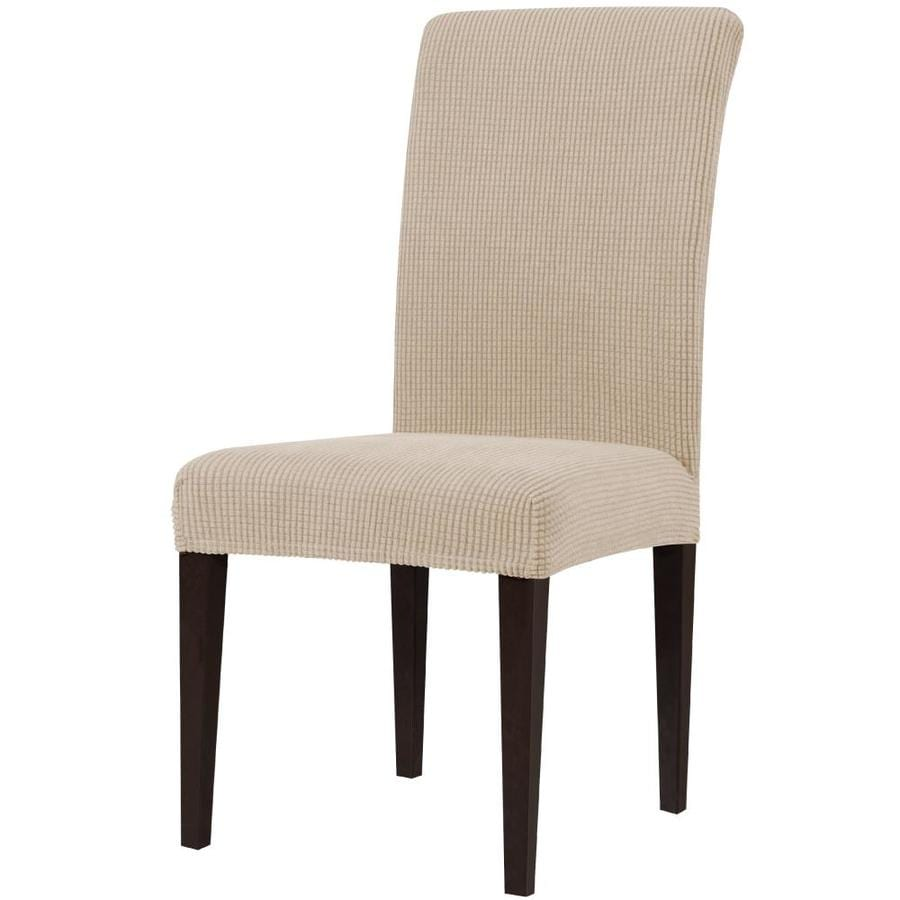 Subrtex Ultra Soft Spandex Stretch Box Cushion Dining Chair Slipcover 2 Piece Camel In The Slipcovers Department At Lowes Com