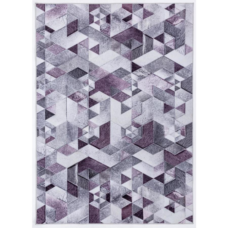 Mda Rugs Pamplona Collection Abstract Grey Purple Area Rug 8x10 In The Rugs Department At Lowes Com