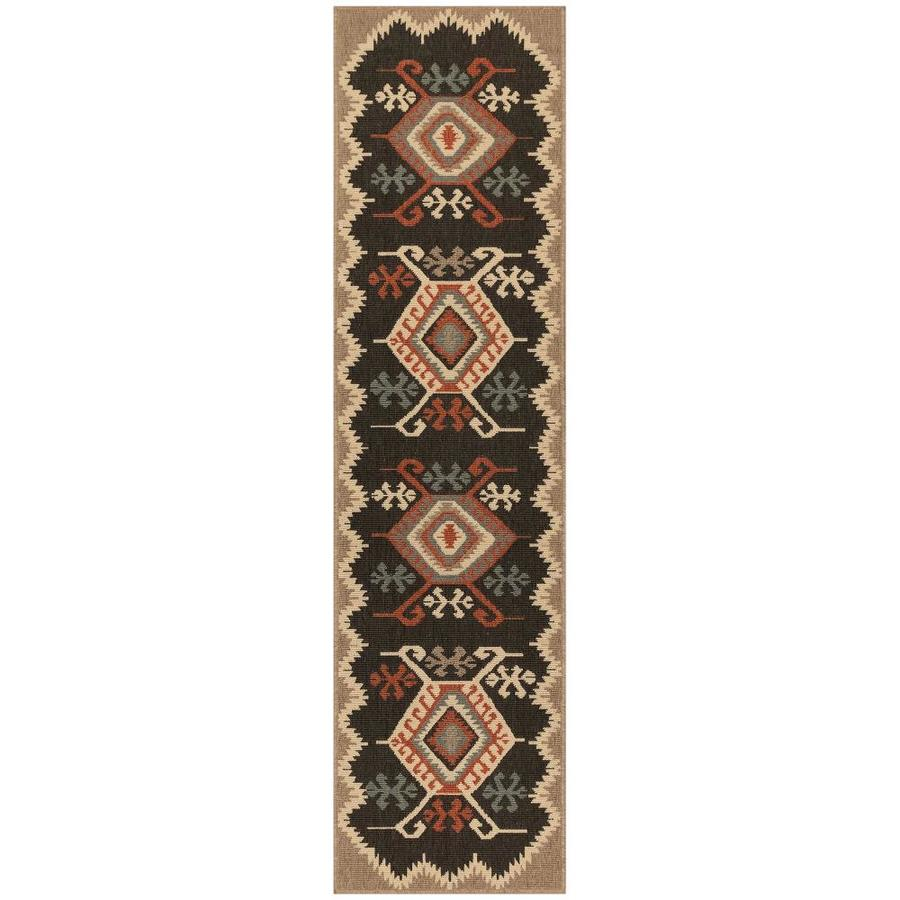 Liora Manne Riviera 2 X 8 Black Indoor Outdoor Geometric Southwestern Runner In The Rugs Department At Lowes Com